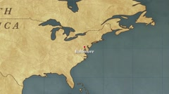 World Map Baltimore City Point Zoom In Stock Footage