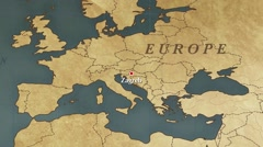 World Map Zagreb City Point Zoom In Stock Footage
