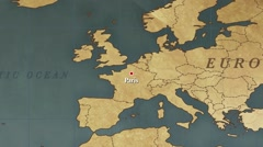 World Map Paris City Point Zoom In Stock Footage