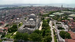 Istanbul Airview from helicopter, Suleymaniye Mosque Stock Footage