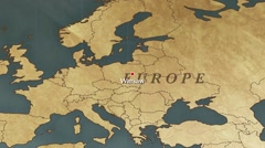 World Map Warsaw City Point Zoom In Stock Footage