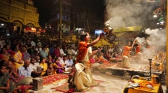 Ganga Aarti ritual (fire puja) Stock Footage