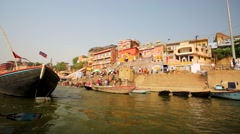 Ganges river with the boats and holy ghats. Stock Footage