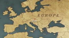 World Map Vienna City Point Zoom In Stock Footage