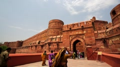Tourists visit the Agra Fort. Stock Footage