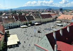 sibiu grand square - stock photo