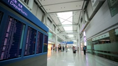 Departures board in airport Stock Footage