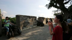 Tourists visit the Guia Fortress. Stock Footage