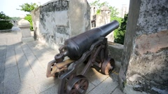 Cannon of the Portuguese-built, colonial-era - stock footage