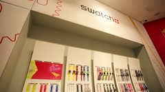 Watches in a Swatch store. Stock Footage