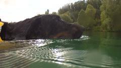 Dog swims Stock Footage