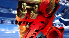 Piston works into car engine Stock Footage