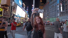 Tourist Girl Selfie Times Square Smartphone Picture New York City NYC 4K USA Stock Footage