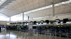 Check-in counters in the airport Stock Footage