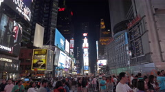 Crowded Busy Times Square Tourists Tourism Night New York City NYC USA 4K - stock footage