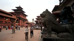 People at Durbar Square of Patan. Stock Footage