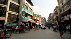View of Thamel street. Stock Footage