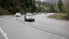Colorado Rocky Mountain highway pass traffic rain storm 4K 201 Stock Footage