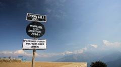 Trekker reaching Poon hill Stock Footage