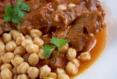 Chtitha lham – lamb in a red sauce Stock Photos