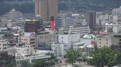 Stock Video Footage of Pan of The Urban Skyline Of Beppu Japan 4K