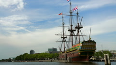 Old sailing ship in Amsterdam at maritime museum amsterdam - stock footage