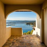 Sea view from apartment in the luxury hotel, halkidiki, greece Stock Photos