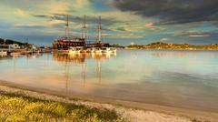 Touristic sailing boat in ormos panagias, sithonia, greece Stock Photos