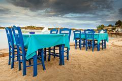 greek tavern sea food in halkidiki, sithonia - stock photo