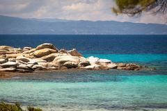 Beautiful panorama of karidi beach in vourvourou, sithonia, greece Stock Photos