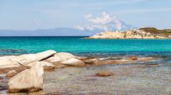 Karidi beach in vourvourou view to athos, sithonia, greece Stock Photos