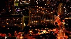 Waikiki Beach and Honolulu at night, Honolulu, Oahu island, Hawaii Stock Footage
