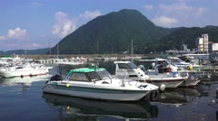Seaside Marina Next To Costal Mountain In Beppu Japan 4K - stock footage