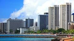 Waikiki Beach, Honolulu, Oahu island, Hawaii Stock Footage