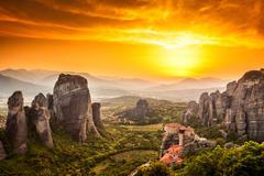 meteora roussanou monastery at sunset, greece - stock photo