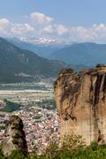 meteora monasteries in trikala region in summer, greece. - stock photo