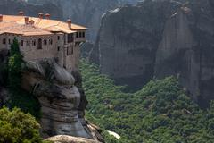 Orthodox monastery varlaam on the rock, near kalampaka, meteora, fessalia, gr Stock Photos