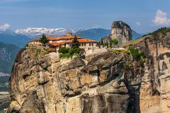 meteora monasteries in greece - stock photo