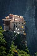 Roussanou monastery at meteora, greece Stock Photos