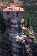 monastery from meteora-greece, beautiful landscape with tall rocks with build - stock photo