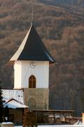 Defensive watch tower of pangarati monastery in romania Stock Photos