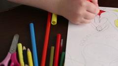 Child draws felt-tip pens close up - dolly shot Stock Footage