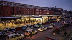 Illuminated bus stop in the evening - Hamburg Altona Station - DSLR time lapse Stock Footage