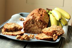 Banana cake with walnuts - stock photo