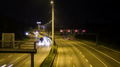 Highway by night with cars and trucks - DSLR dolly shot time lapse Stock Footage