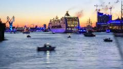 Hamburg harbor fireworks with ship and boats - dolly shot dslr time lapse 2012 Stock Footage