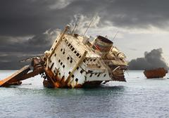The sunken shipwreck. Stock Photos