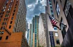 Buildings along cliff street in the financial district of lower manhattan Stock Photos