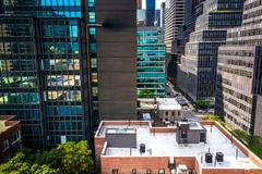 Stock Photo of view of buildings in the turtle bay neighborhood, from a rooftop on 51st stre
