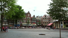 Amsterdam downtown busy place Leidseplein Stock Footage